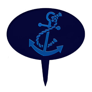 Blue Ship's Anchor Nautical Marine Themed Cake Topper