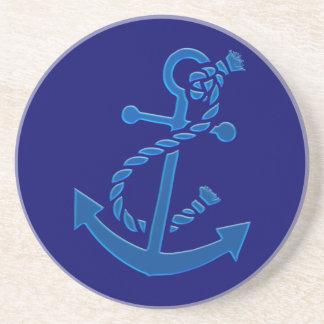 Blue Ship's Anchor Nautical Marine Themed Coaster