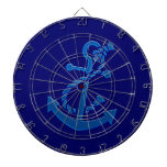 Blue Ship's Anchor Nautical Marine Themed Dart Board