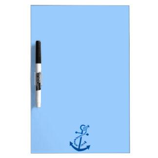 Blue Ship's Anchor Nautical Marine Themed Dry Erase Board