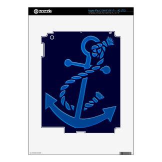 Blue Ship's Anchor Nautical Marine Themed iPad 3 Decals