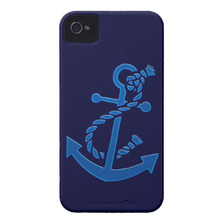 Blue Ship's Anchor Nautical Marine Themed iPhone 4 Cover
