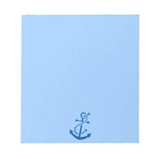 Blue Ship's Anchor Nautical Marine Themed Notepad