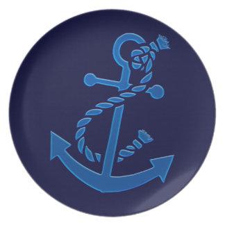 Blue Ship's Anchor Nautical Marine Themed Dinner Plate