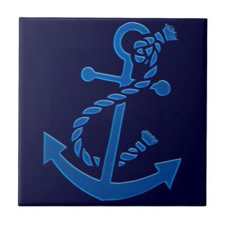 Blue Ship's Anchor Nautical Marine Themed Ceramic Tile