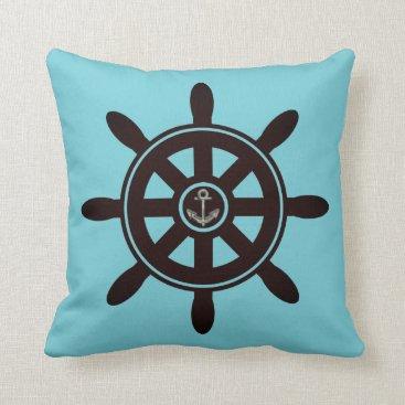 Beach Themed Blue Ship's Wheel Anchor Sailing Nautical Pillow