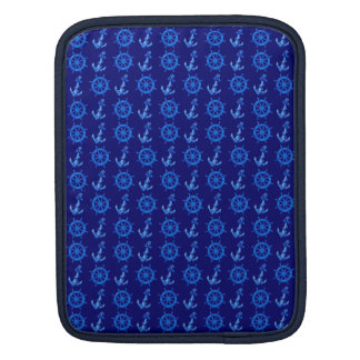Blue Ships Wheel And Anchor Sleeve For iPads