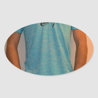 Blue shirt oval sticker
