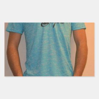 Blue shirt rectangular sticker
