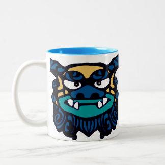 Blue Shisa Pair Two-Tone Coffee Mug