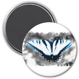 Blue Shock Butterfly 3 Inch Round Magnet