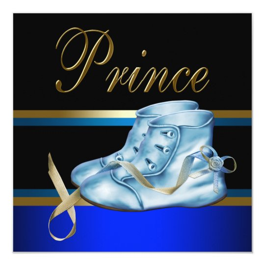 Blue Shoes Black Gold Crown Prince Baby Shower Card