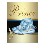 Blue Shoes Black Gold Crown Prince Baby Shower Announcement