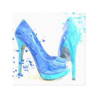 Blue shoes fashion trendy glamour mode style canvas print