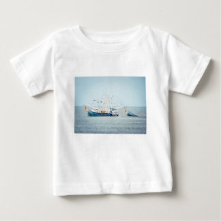 Blue Shrimp Boat on the Ocean Baby T-Shirt