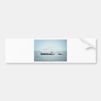 Blue Shrimp Boat on the Ocean Bumper Sticker