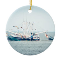 Blue Shrimp Boat on the Ocean Ceramic Ornament