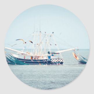 Blue Shrimp Boat on the Ocean Classic Round Sticker