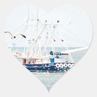 Blue Shrimp Boat on the Ocean Heart Sticker