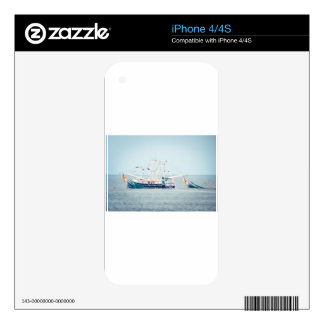 Blue Shrimp Boat on the Ocean iPhone 4S Decals