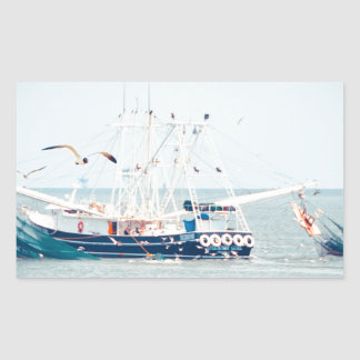 Blue Shrimp Boat on the Ocean Rectangular Sticker