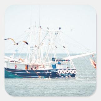 Blue Shrimp Boat on the Ocean Square Sticker