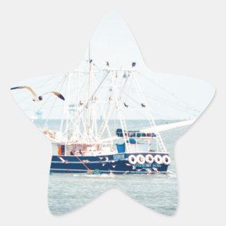 Blue Shrimp Boat on the Ocean Star Sticker