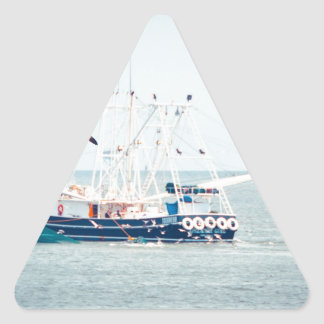 Blue Shrimp Boat on the Ocean Triangle Sticker