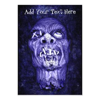 Blue Shrunken Head Zombie Invitations
