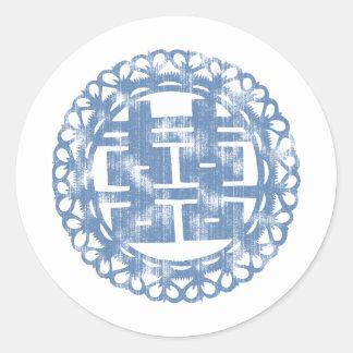 Blue Shuan Xi Classic Round Sticker