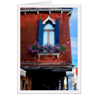 Blue Shutters Murano Greeting Card