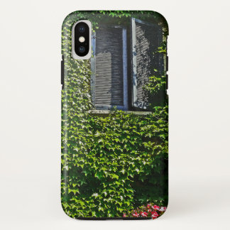 BLUE SHUTTERS/VINE-COVERED WALL/RED PETUNIAS iPhone X CASE