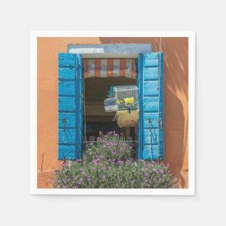 Blue shutters window napkin