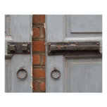 Blue shutters with locks poster