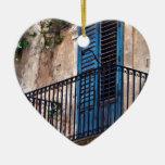 Blue Sicilian Door on the Balcony Ceramic Ornament