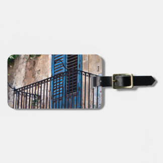 Blue Sicilian Door on the Balcony Luggage Tag