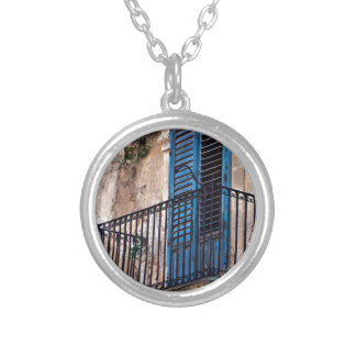 Blue Sicilian Door on the Balcony Silver Plated Necklace