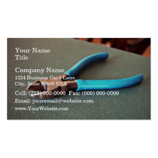 Blue side cutter on table business card templates