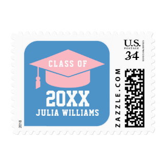 blue sign class of YEAR feminine grad Postage
