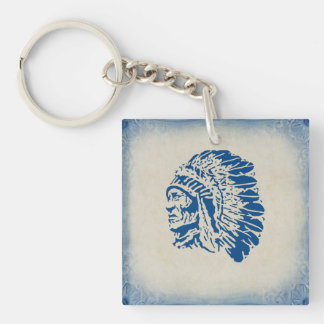 Blue Silhouette American Indian Chief Keychain