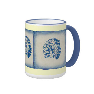 Blue Silhouette American Indian Chief Mug