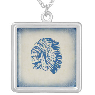 Blue Silhouette American Indian Chief Necklace