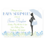 Blue Silhouette Baby Sprinkle 5x7 Paper Invitation Card
