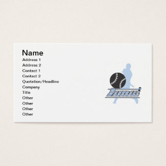 Blue Silhouette Baseball Player T-shirts and Gifts Business Card