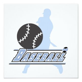 Blue Silhouette Baseball Player T-shirts and Gifts Invitation