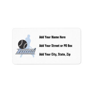 Blue Silhouette Baseball Player T-shirts and Gifts Address Label