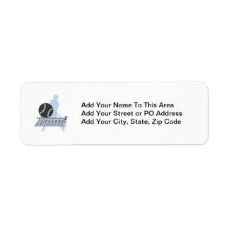 Blue Silhouette Baseball Player T-shirts and Gifts Return Address Label