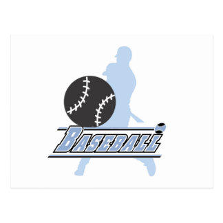 Blue Silhouette Baseball Player T-shirts and Gifts Postcard