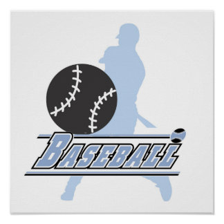 Blue Silhouette Baseball Player T-shirts and Gifts Print