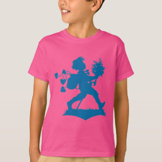 Blue silhouette boy flowers hearts T-Shirt
